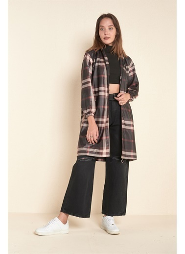 Z Giyim Kapşonlu Fermuarlı Trençkot Siyah